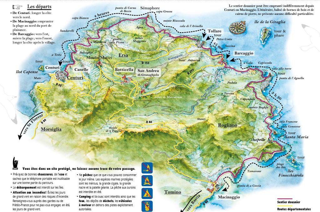 sentier des douaniers carte Sentiers de randonnée et de balade dans le Cap Corse | Ame Nomade