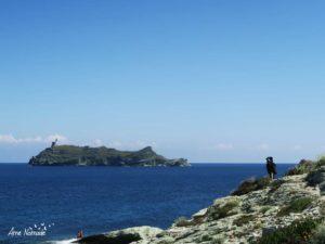 Gioia admire l'île de la Giraglia au large de Barcaggio