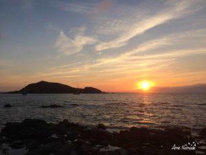 Coucher de soleil sur l'îlot Capense à Centuri